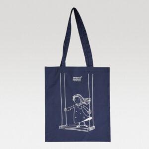 Синяя холщовая сумка с нанесением
