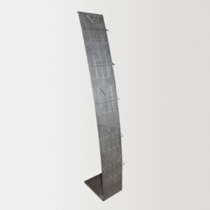 Напольная Перфобуклетница JUST тип D (Парус), выгнутая, 455 х 1650 мм, серый металлик с ячейками