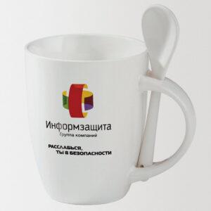 Кружка белая с ложкой с нанесением логотипа